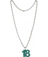 """18th Birthday Teal Beaded Necklace, 36"""" ..."""