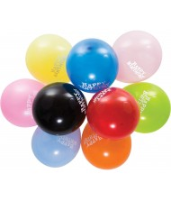 "Assorted Color Birthday Latex Balloons, 12"" ..."