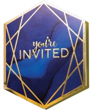 Blue and Gold Foldable Invitations with ...