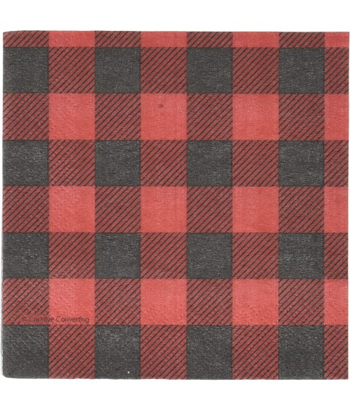 Black and Red Plaid Beverage Paper Napkins- 16 pcs.